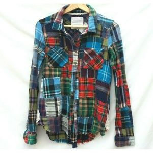Free People We the Free Lost In Plaid Flannel XS